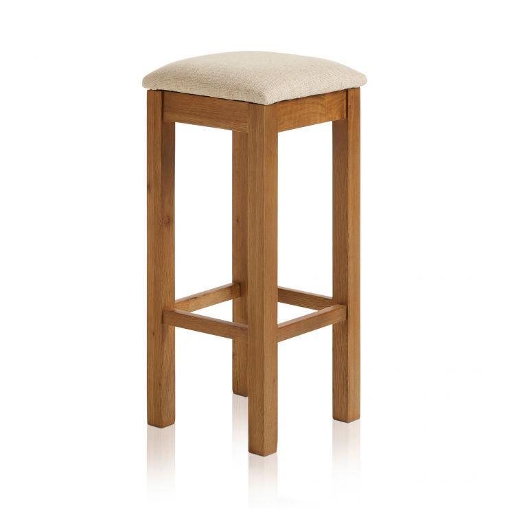 Rhodes Rustic Solid Oak Square Bar Stool with Plain Beige Fabric Pad - Image 4