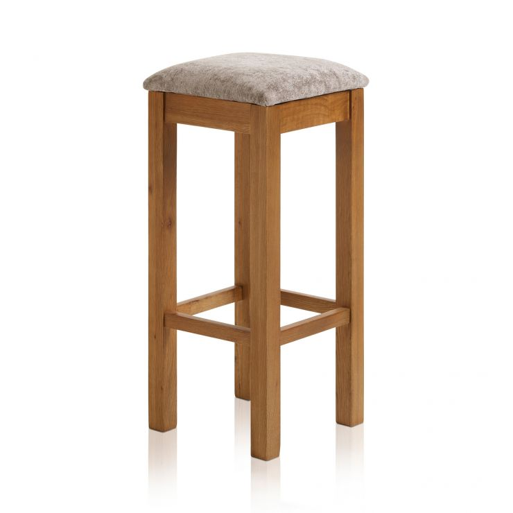 Rhodes Rustic Solid Oak Square Bar Stool with Plain Truffle Fabric Pad