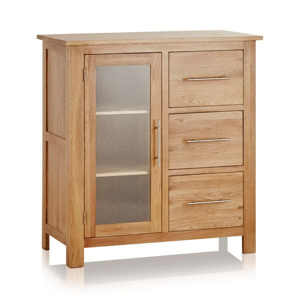 Rivermead Natural Solid Oak 3 Drawer Glazed Media Cabinet
