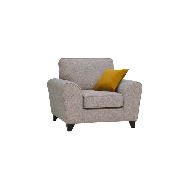 Robyn Armchair Pebble Fabric with Mustard Scatters