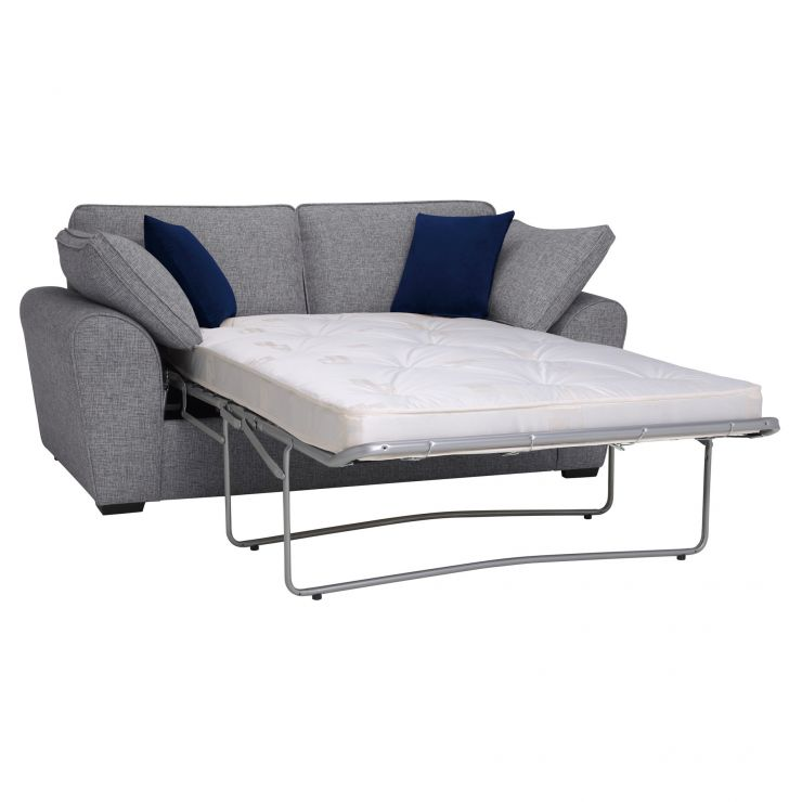 Robyn Silver 2 Seater Deluxe Sofa Bed with Royal Blue Scatters