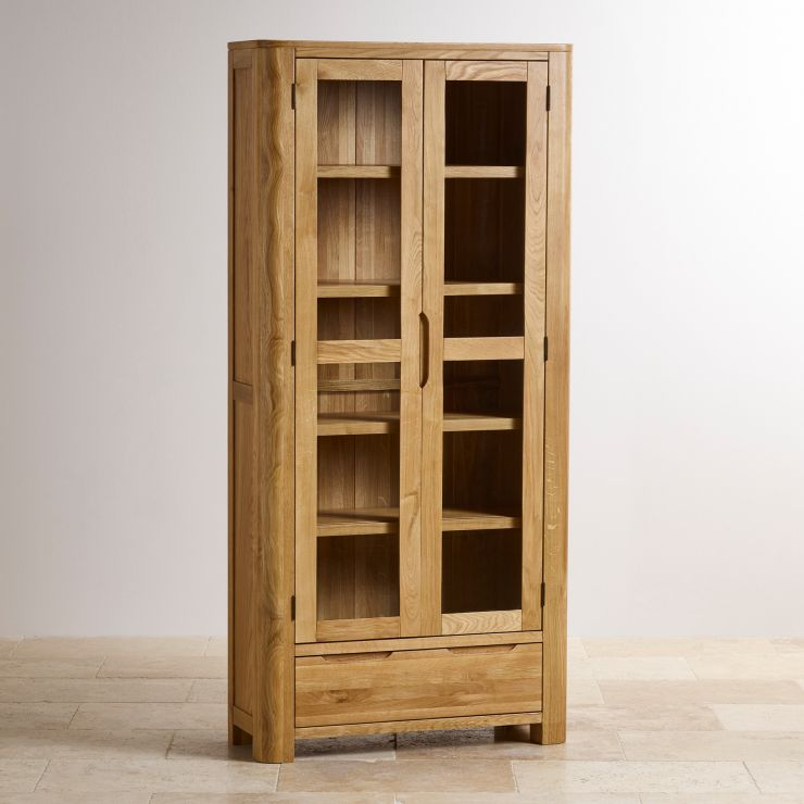 Romsey Natural Solid Oak Display Cabinet - Image 5