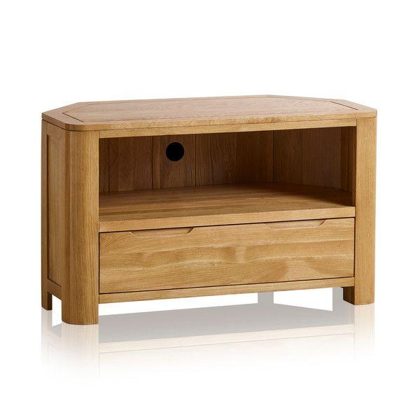 Romsey Natural Solid Oak Corner TV Unit