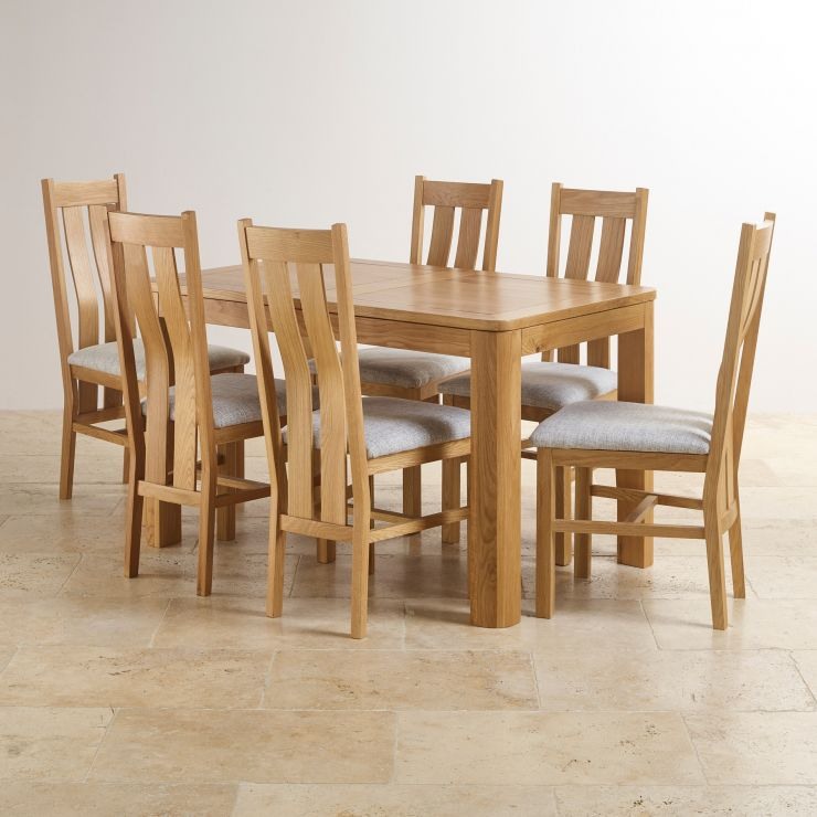Romsey Natural Solid Oak Extending Dining Set with 6 Arched Back and Plain Grey Fabric Chairs - Image 10