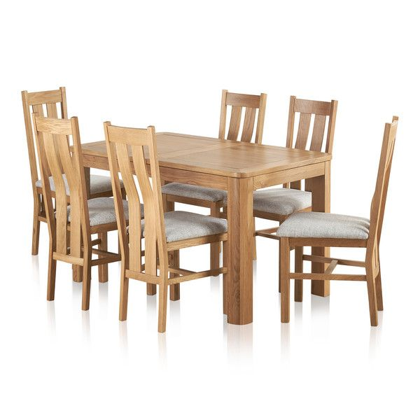 Romsey Natural Solid Oak Extending Dining Set with 6 Arched Back and Plain Grey Fabric Chairs