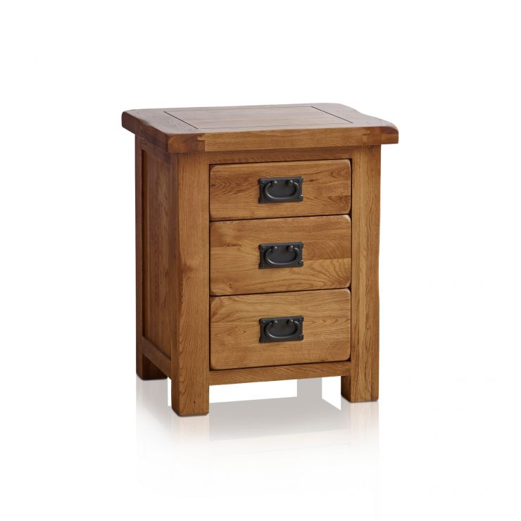 Original Rustic Solid Oak 3 Drawer Bedside Table - Image 6