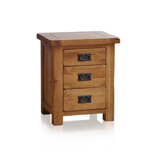 Original Rustic Solid Oak 3 Drawer Bedside Table