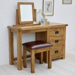 Original Rustic Solid Oak 3 Drawer Dressing Table  - Thumbnail 3