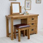 Original Rustic Solid Oak 3 Drawer Dressing Table Set - Thumbnail 9