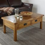 Original Rustic Solid Oak 4 Drawer Storage Coffee Table - Thumbnail 3
