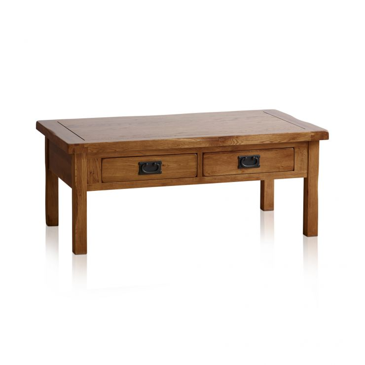 Original Rustic Solid Oak 4 Drawer Storage Coffee Table - Image 7