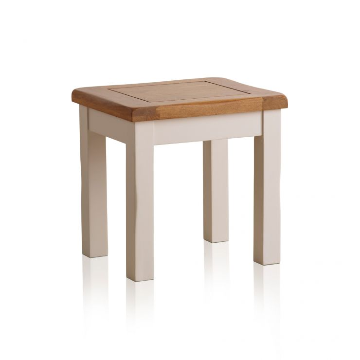 Kemble Rustic Solid Oak and Painted Dressing Table Stool - Image 4