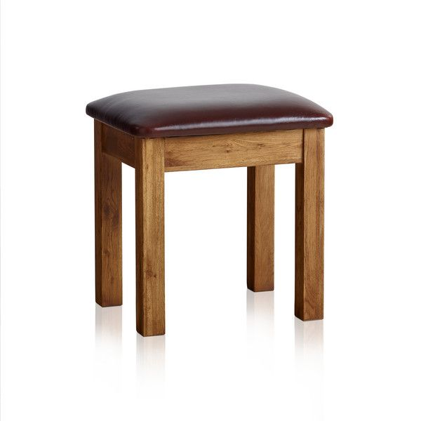 Original Rustic Solid Oak and Leather Dressing Table Stool