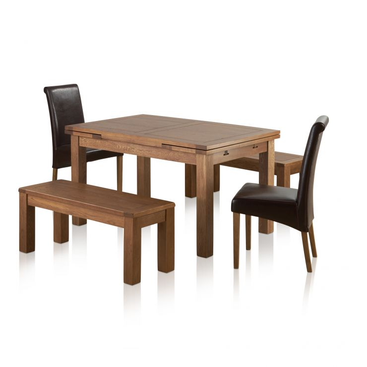 "Sherwood Oak Dining Set - 4ft 7"" Extending Table with 2 x 3ft 7"" Benches and 2 x Scroll Back Brown Leather Chairs"