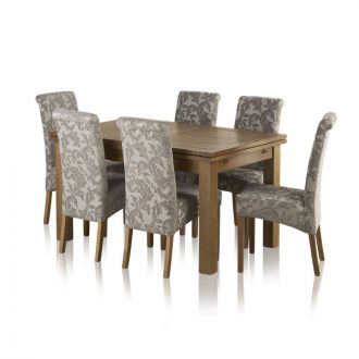 "Sherwood Oak Dining Set - 4ft 7"" Extending Table with 6 Scroll Back Patterned Silver Fabric Chairs"