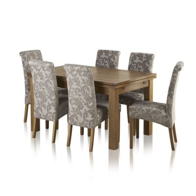 """Sherwood Oak Dining Set - 4ft 7"""" Extending Table with 6 Scroll Back Patterned Silver Fabric Chairs"""