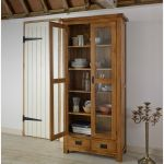 Original Rustic Solid Oak Glazed Display Cabinet - Thumbnail 3