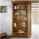 Original Rustic Solid Oak Tall Bookcase - Thumbnail 3