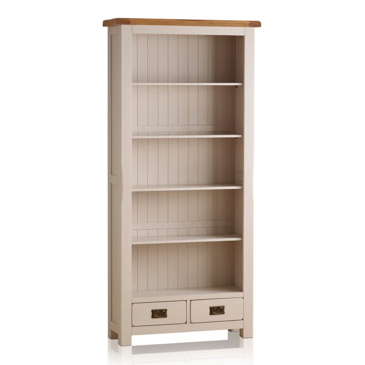 Kemble Rustic Solid Oak and Painted Tall Bookcase - Image 5
