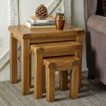 Original Rustic Solid Oak Nest of Tables - Thumbnail 6