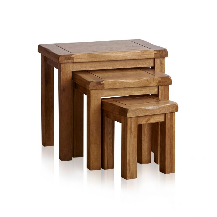 Original Rustic Solid Oak Nest of Tables - Image 6