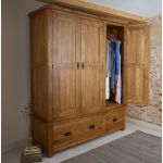 Original Rustic Solid Oak Triple Wardrobe - Thumbnail 3