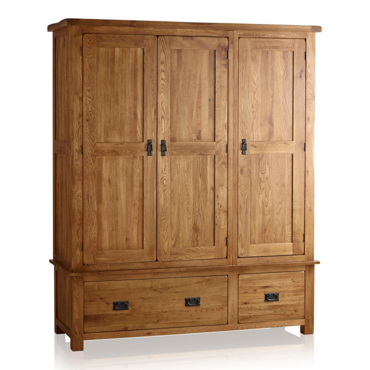 Original Rustic Solid Oak Triple Wardrobe - Image 1