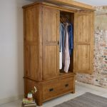 Original Rustic Solid Oak Double Wardrobe - Thumbnail 3