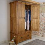 Original Rustic Solid Oak Double Wardrobe - Thumbnail 3