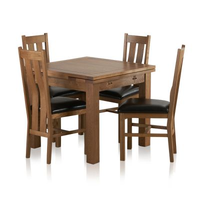 Sherwood Solid Oak Dining Set - 3ft Extending Table with 4 Arched Back and Black Leather Chairs