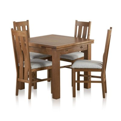 Sherwood Solid Oak Dining Set - 3ft Extending Table with 4 Arched Back Grey Plain Fabric Dining Chairs