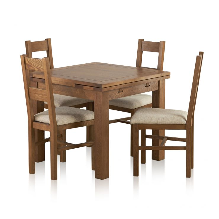 Sherwood Solid Oak Dining Set - 3ft Extending Table with 4 Farmhouse and Plain Beige Fabric Chairs - Image 1