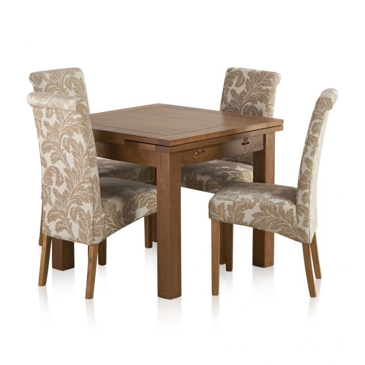 Sherwood Solid Oak Dining Set - 3ft Extending Table with 4 Scroll Back Patterned Beige Fabric Chairs