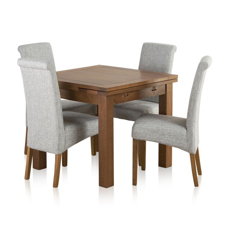 Sherwood Solid Oak Dining Set - 3ft Extending Table with 4 Scroll Back Plain Grey Fabric Chairs - Image 8