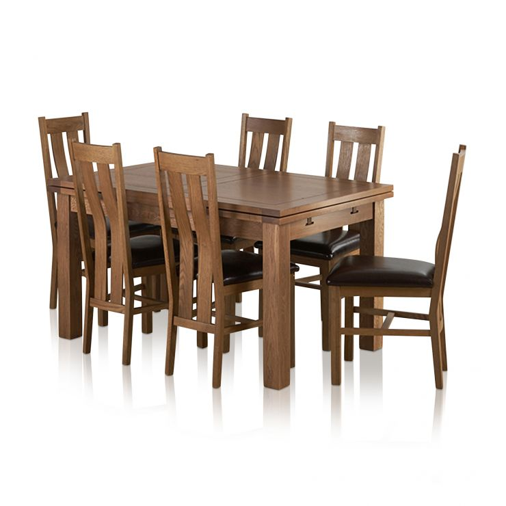 """Sherwood Solid Oak Dining Set - 4ft 7"""" Extending Table with 6 Arched Back and Brown Leather Chairs"""