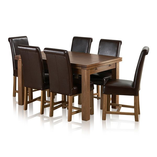 "Sherwood Solid Oak Dining Set - 4ft 7"" Extending Table with 6 Braced Scroll Back Brown Leather Chairs"