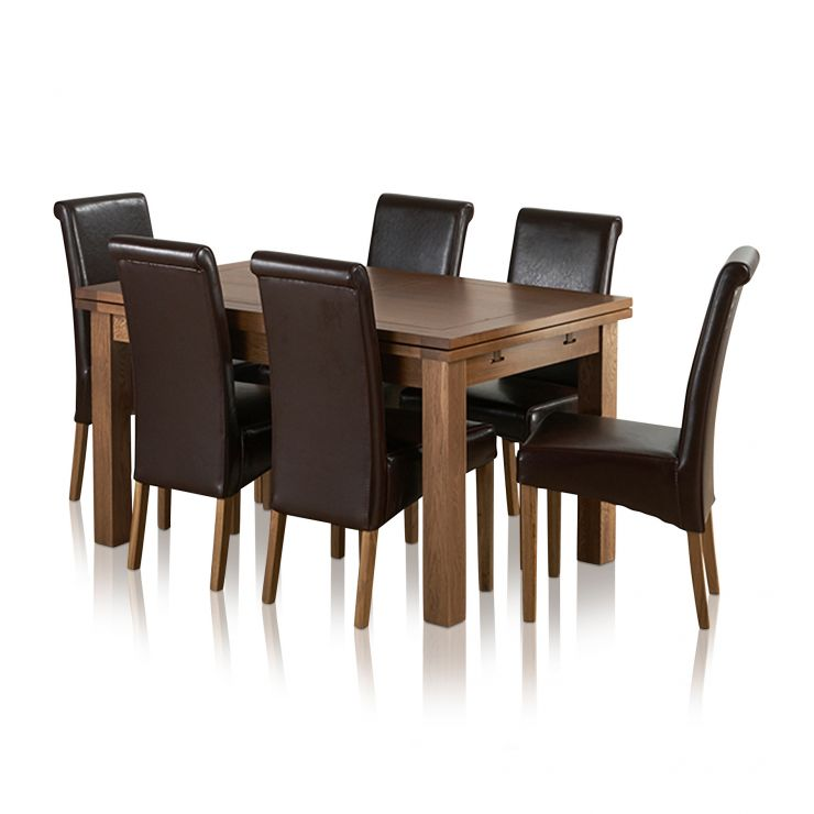 """Sherwood Solid Oak Dining Set - 4ft 7"""" Extending Table with 6 Scroll Back Brown Leather Chairs"""