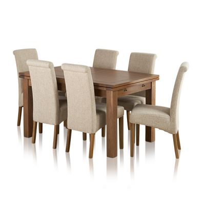 "Sherwood Solid Oak Dining Set - 4ft 7"" Extending Table with 6 Scroll Back Plain Beige Fabric Chairs"
