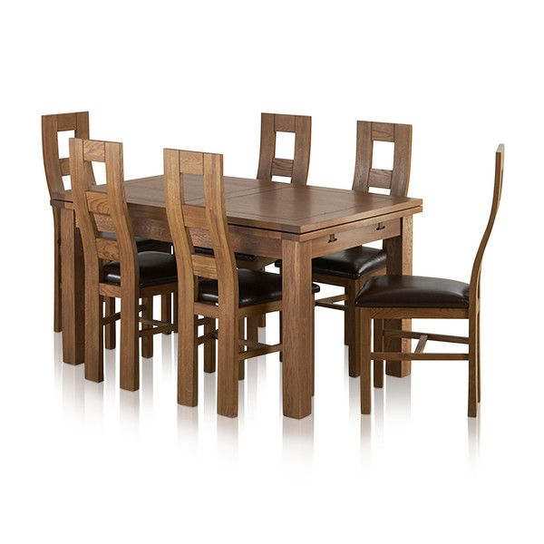 "Sherwood Solid Oak Dining Set - 4ft 7"" Extending Table with 6 Wave Back and Brown Leather Chairs"