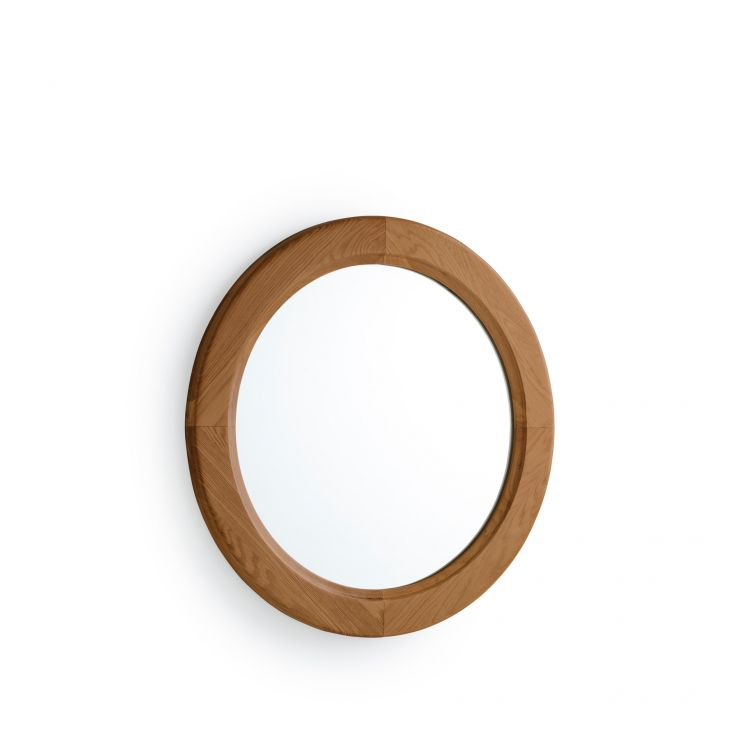 Rustic Solid Oak Round Wall Mirror - Image 1