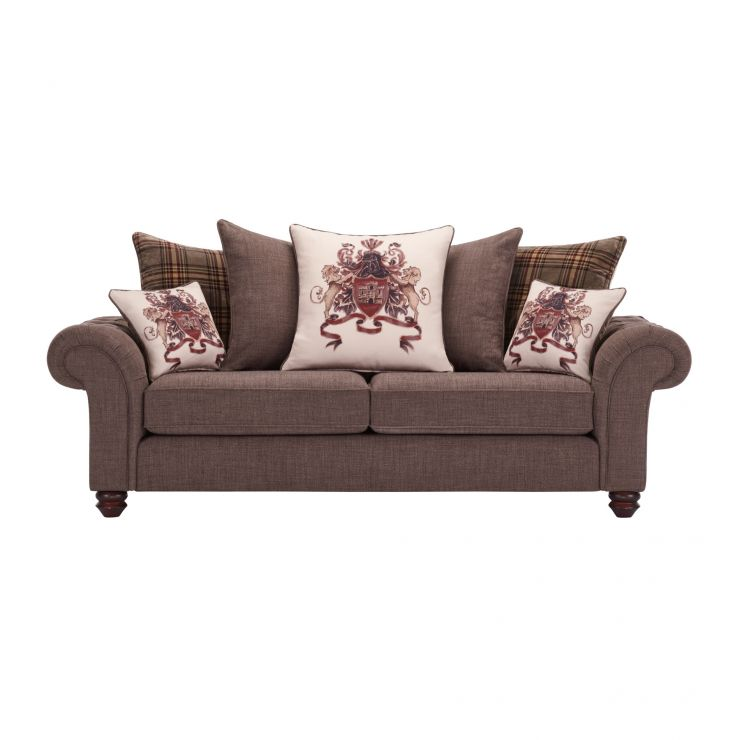 Sandringham 3 Seater Pillow Back Sofa in Brown with Beige and Brown Scatters - Image 1