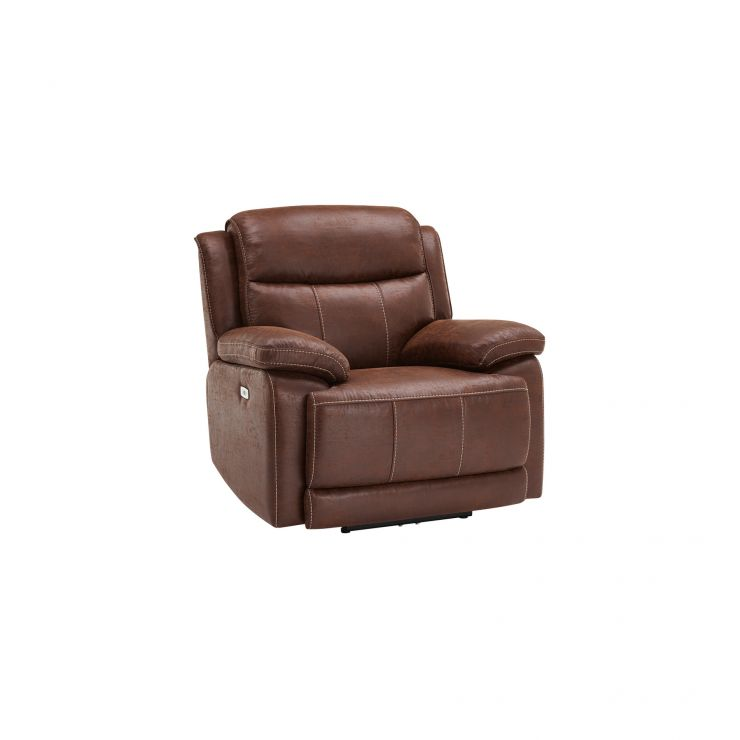 Santiago Electric Reclining Armchair - Dark Brown Fabric