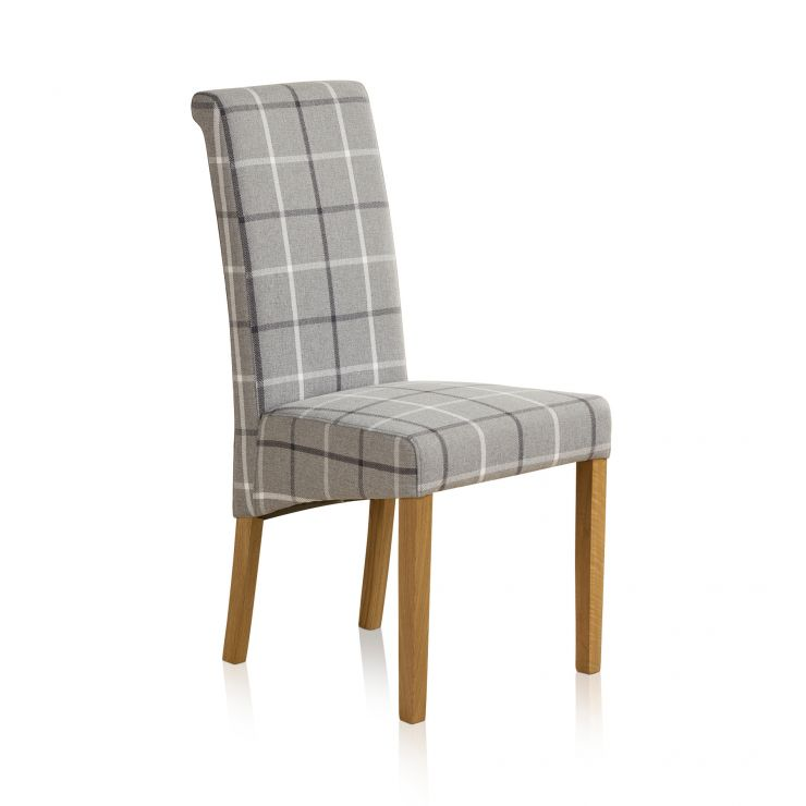 Scroll Back Check Granite Fabric Chair with Solid Oak Legs - Image 1