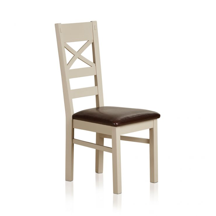 Seychelles Painted and Brushed Solid Oak and Brown Leather Dining Chair - Image 4