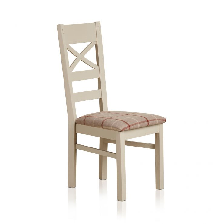 Seychelles Painted and Brushed Solid Oak and Check Natural Fabric Dining Chair - Image 4