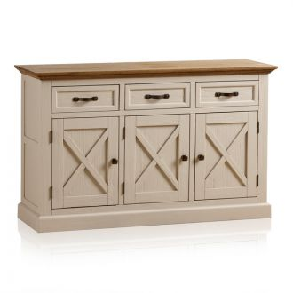 Seychelles Painted and Brushed Solid Oak Large Sideboard