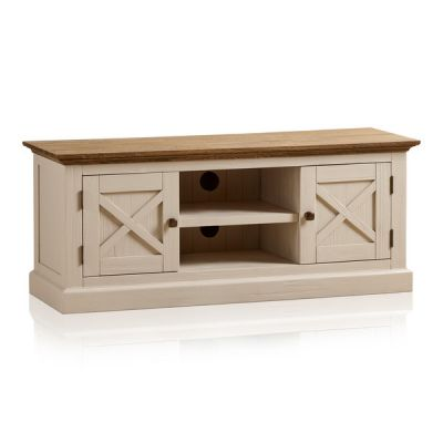 Seychelles Painted and Brushed Solid Oak Large TV Cabinet