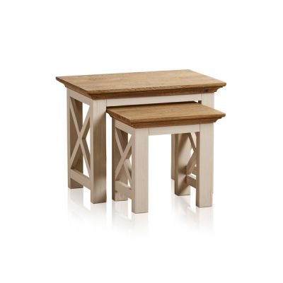 Seychelles Painted and Brushed Solid Oak Nest of 2 Tables