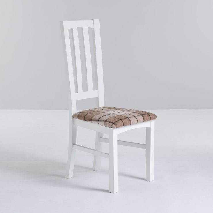Shaker White Painted Hardwood Check Brown Fabric Dining Chair