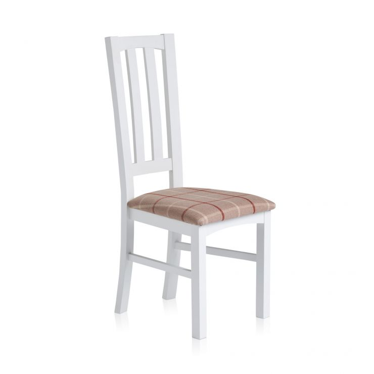 Shaker White Painted Hardwood Check Natural Fabric Dining Chair